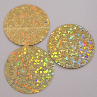 Bulk Bag 15mm Gold Hologram Flat Round Sequins
